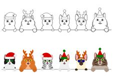 Smiling cats with Christmas costumes border set. Set of cute cat border with and without colors, cute cartoon cats in Xmas costumes  in a row stock illustration