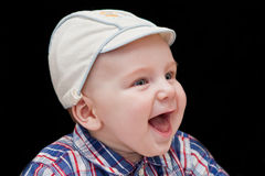 Smiling Caucasian baby boy with blue eyes Royalty Free Stock Photography