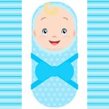 Smiling caucasian baby boy isolated on white background. vector illustration