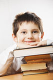 Smiling caucasian boy in classroom Royalty Free Stock Photos