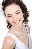 Smiling caucasian bride. Portrait of beautiful smiling caucasian bride - isolated on white Stock Image