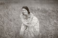 Smiling caucasian brunette bride Royalty Free Stock Photo