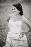 Smiling caucasian brunette bride Royalty Free Stock Image