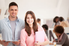 Smiling Caucasian College Students Stock Photo