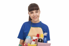 Smiling Caucasian Female Servant With Cleaning Accessories Stock Photography