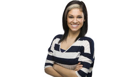 Smiling Caucasian Girl with Arms Crossed. A caucasian woman looks happy with her arms crossed Royalty Free Stock Images