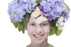 Smiling girl with butterfly Royalty Free Stock Photo