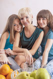Smiling Caucasian Girls With Teeth Braces Indoors. Royalty Free Stock Images