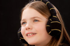 Smiling caucasian little girl with teeth braces Royalty Free Stock Photo