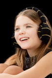 Smiling caucasian little girl with teeth braces Stock Photography