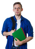 Smiling caucasian male student with blonde hair royalty free stock photo
