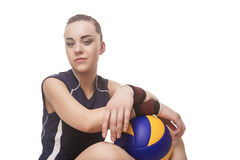Smiling Caucasian Professional Female Volleyball Player Equipped. In Training Outfit with Ball. Isolated Over White Background. Horizontal Shot royalty free stock images