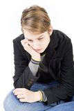 Smiling caucasian sad teen boy Royalty Free Stock Photography