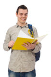 Smiling caucasian student with backpack and book isolated on whi Stock Photo