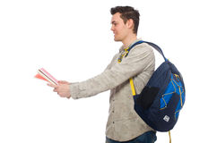 Smiling caucasian student with backpack and books isolated on wh Stock Photography