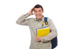 Smiling caucasian student with backpack and books isolated on wh Royalty Free Stock Photo
