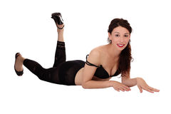 Smiling Caucasian Woman Bra Stockings Reclining Royalty Free Stock Photography