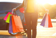 Free Smiling Caucasian Woman Putting Her Shopping Bags Into The Car Royalty Free Stock Images - 81636509