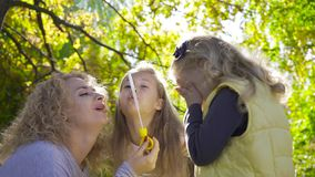 Smiling caucasian woman sitting in the sunrays and blowing soap bubbles on little pretty blond girl. Family with two. Kids having fun in the autumn park stock footage
