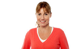 Smiling caucasian woman on white background stock photos