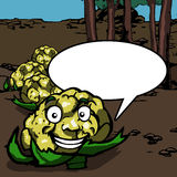 Smiling cauliflower with speech bubble Royalty Free Stock Images