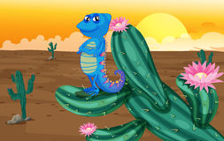 A smiling chameleon. Illustration of a smiling chameleon in a desert Royalty Free Stock Images