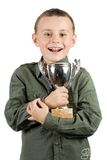Smiling Champion With His Trophy Royalty Free Stock Photo