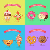 Smiling Characters. Set of Funny Sweets Flat Design. Best friends caramel candy and cupcake, soft pretzel and chocolate biscuit, croissant and ice cream Royalty Free Stock Image