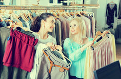 Smiling charming woman shopping jersey Stock Photo