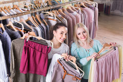 Smiling charming young woman shopping jersey Royalty Free Stock Photo