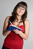 Smiling Checkbook Woman Stock Photo