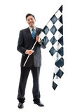 Smiling with a checkered flag Royalty Free Stock Photo