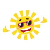 Smiling, cheerful sun wearing sunglasses, isolated cartoon vector illustration Stock Photos