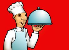 Smiling Chef. An illustration featuring a smiling chef holding a tray of hidden cooking Stock Image