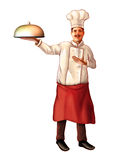 Smiling chef. Carrying a plate. Digital illustration, clipping path included Royalty Free Stock Photography