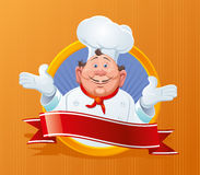 Smiling chef. With a red ribbon Royalty Free Stock Photo