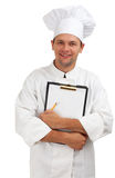 Smiling chef with clipboard Stock Image