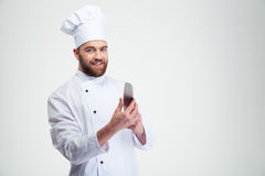 Smiling chef cook holding knife Stock Image