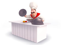 Smiling Chef cooking vegetables Royalty Free Stock Photos