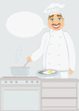 Smiling chef cooks soup Royalty Free Stock Photography