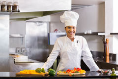 Smiling chef with cut vegetables in kitchen Royalty Free Stock Photography