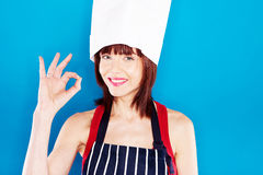Smiling Chef Giving Perfection Gesture Stock Photos