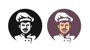 Smiling chef in hat. Black and color icon in round Royalty Free Stock Image