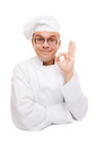 Smiling chef isolated on white Royalty Free Stock Photography