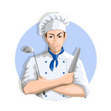 Smiling chef with knife and ladle Royalty Free Stock Images