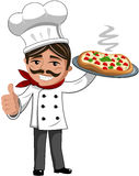 Smiling Chef serving italian pizza Royalty Free Stock Photos