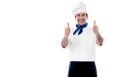 Smiling chef showing double thumbs up Royalty Free Stock Photo