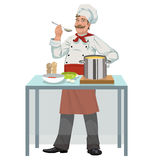 Smiling chef with soup Royalty Free Stock Image