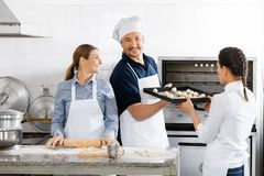 Smiling Chef Taking Baking Sheet From Colleague By Stock Photo