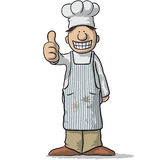 Chef in apron with thumbs up. Smiling chef in apron gesturing thumbs up on white stock illustration